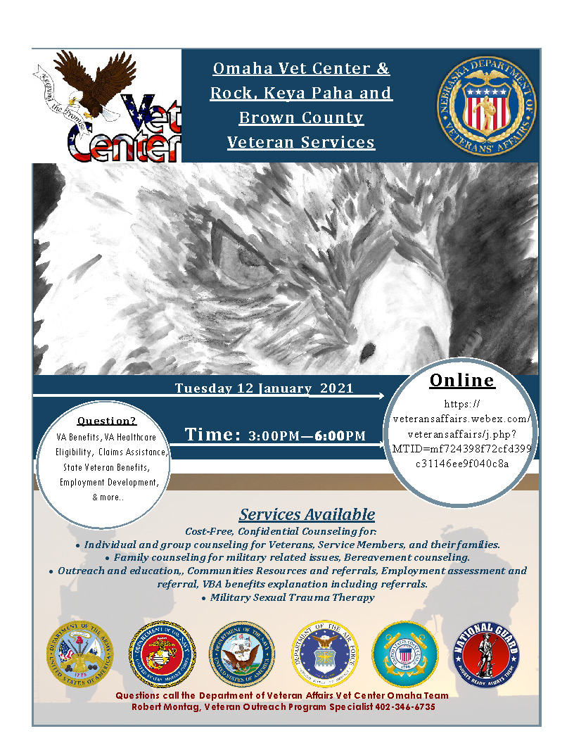 Flyer for Virtual Outreach with Omaha Vet Center and Rock, Keya Paha, and Brown County Veteran Services