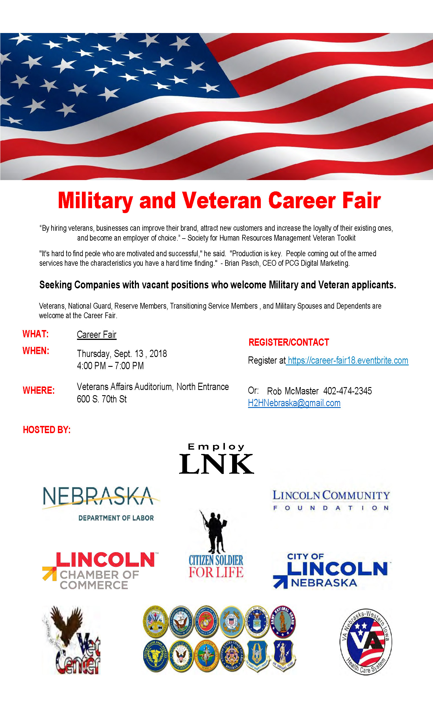 Military And Veteran Career Fair Nebraska Department Of Veterans