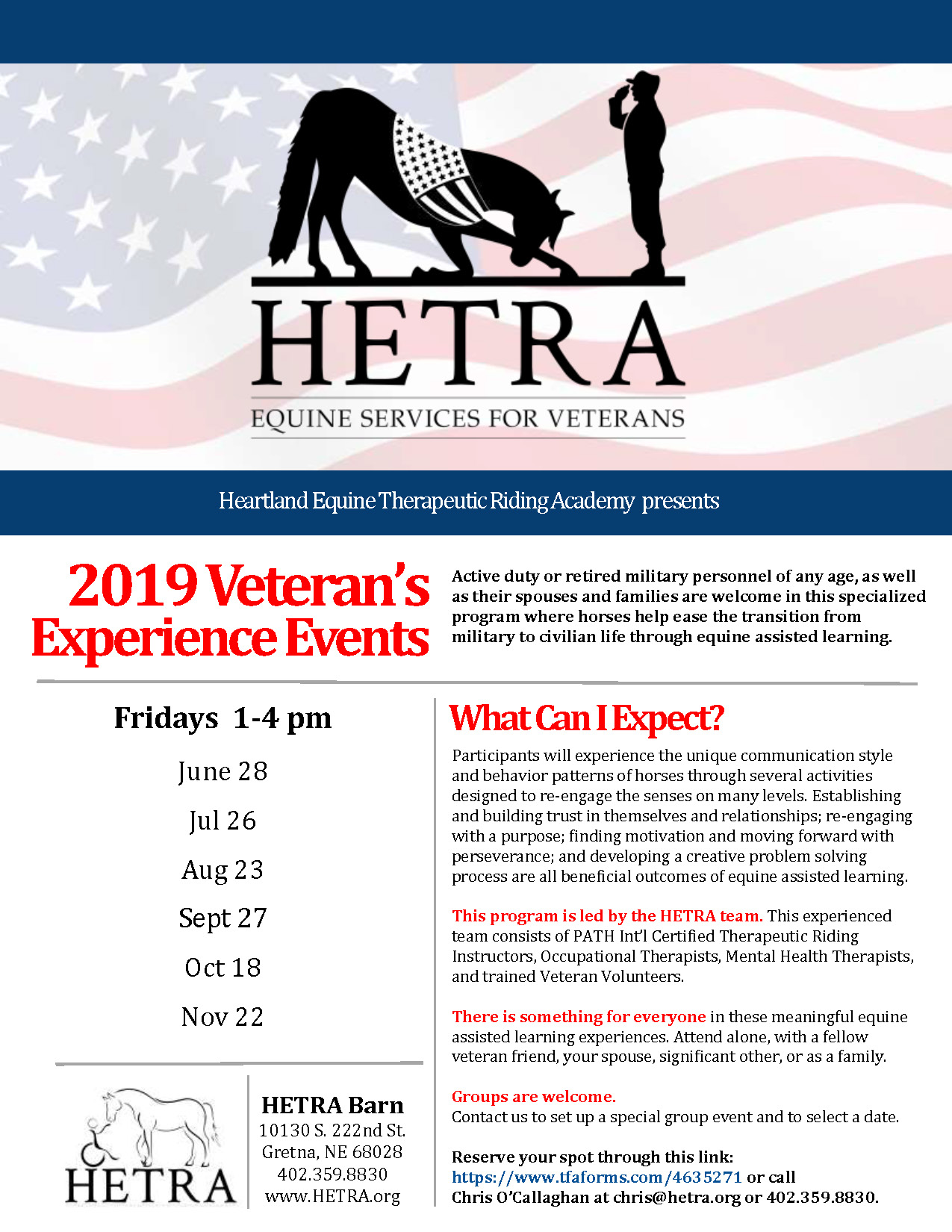 HETRA Equine Services For Veterans flyer