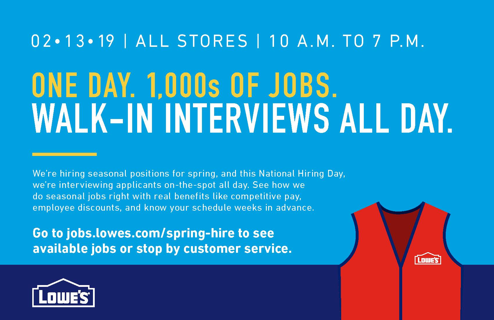 Lowes Employee Benefits >> Lowe S National Hiring Day Nebraska Department Of Veterans