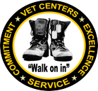 "Vet Centers ""Walk on in"" logo with combat boots and dog tags"