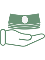 Icon of a hand holding paper