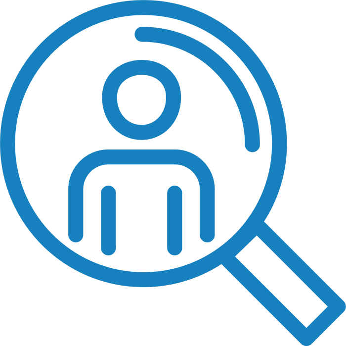 Icon of magnifying glass with outline of person inside