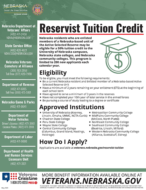 Reservist Tuition Credit info sheet
