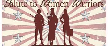 Salute To Women Warriors Tile Image - Silhouettes of three women, one in a military uniform, one wearing a graduation gown, and one wearing a business suit.